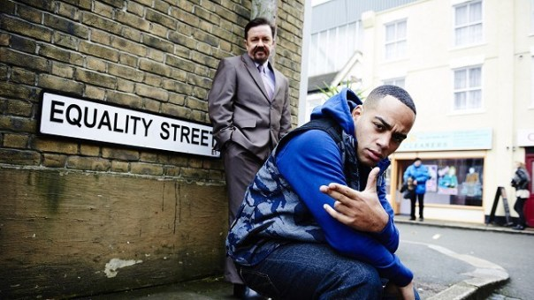 "Ricky Gervais and rapper Dom Johnson star in ""The Office Revisited."""