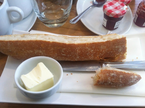 My breakfast! Is there anything more perfect than a good baguette and French unsalted butter?
