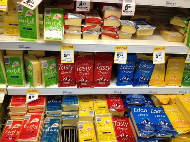 Cheese aisle in New Zealand