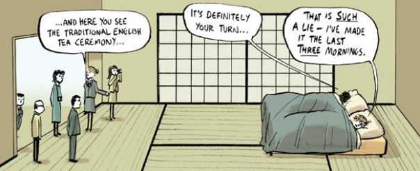 Traditional English tea ceremony comic