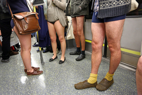 No Trousers Day on the London Underground, London, Britain - 12
