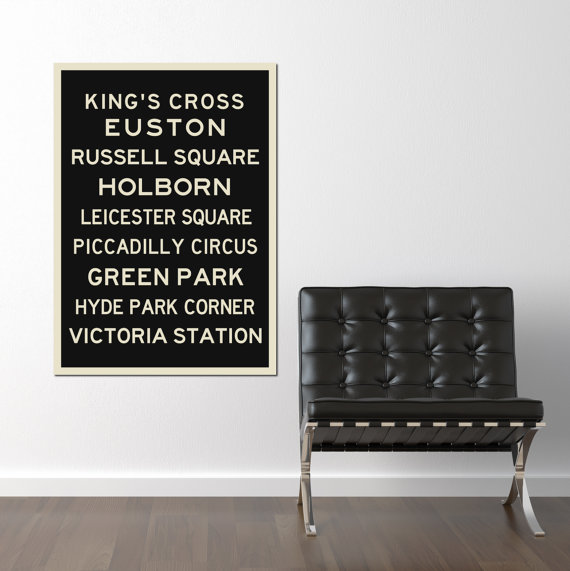London Canvas, Black and White, Subway Sign Poster