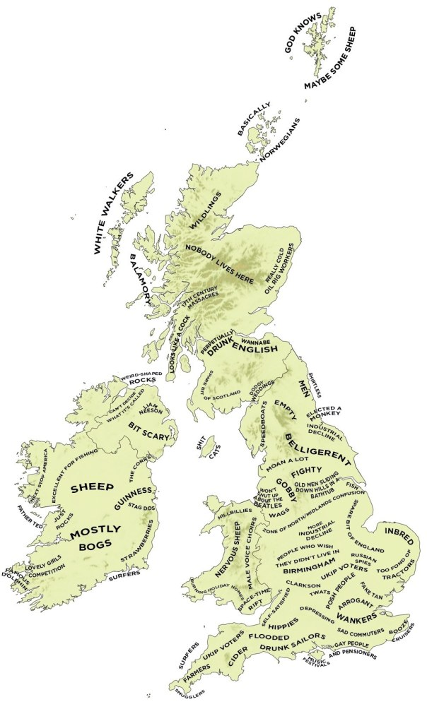 Definitive Stereotype Map of Britain and Ireland