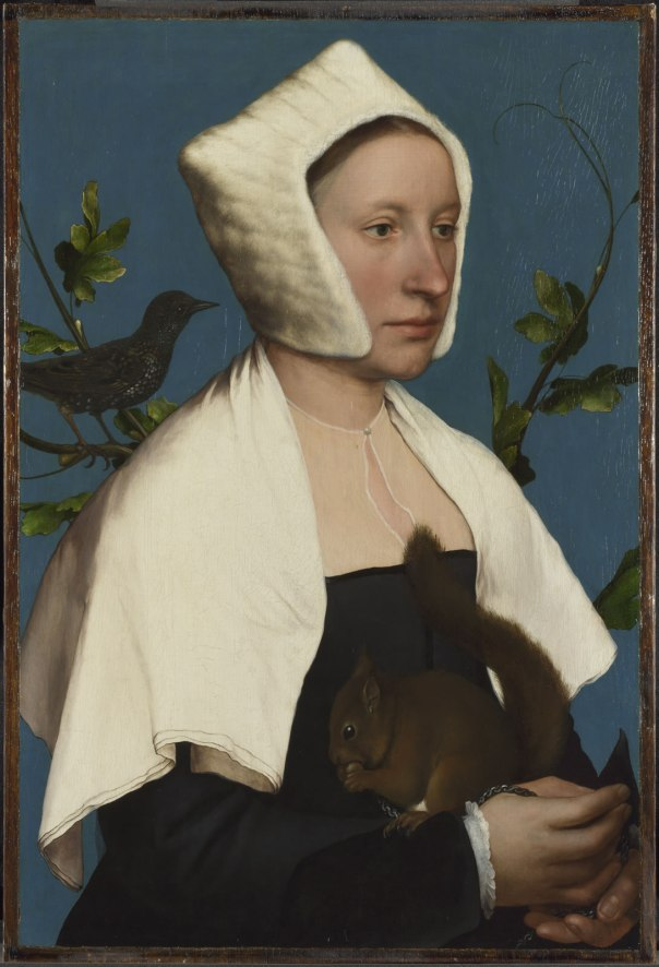 Hans Holbein the Younger,  A Lady with a Squirrel and a Starling