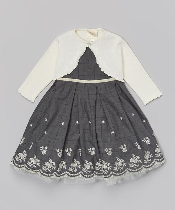 Black Floral Dress & White Cardigan