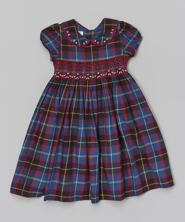Blue Plaid Smocked Dress