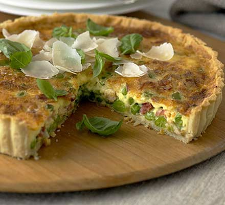 Basil, Pea and Prosciutto Tart